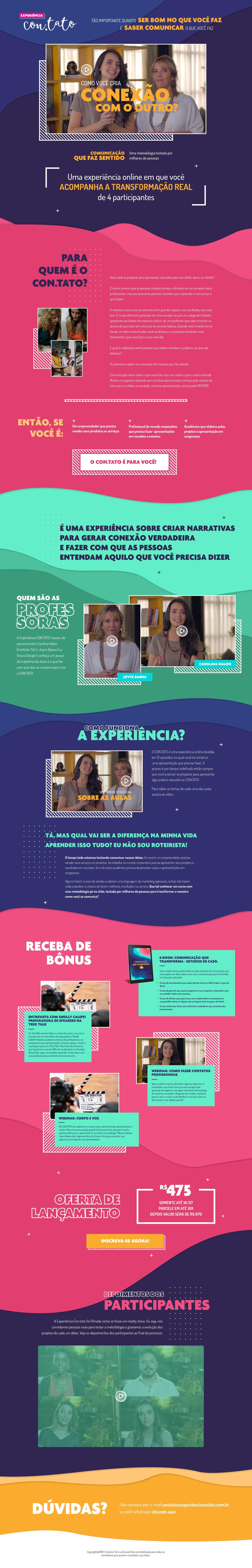 Página de vendas para curso Experiência Con.tato