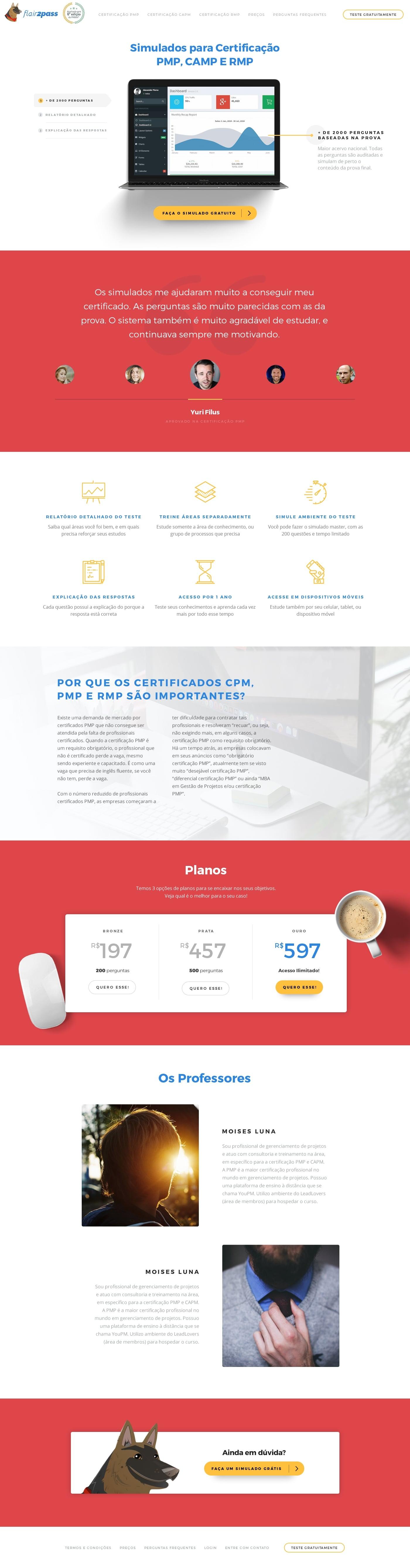 Website e sistema de simulados para Flair2pass